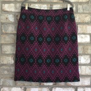 ANN TAYLOR AZTEC PATTERN WOVEN PENCIL SKIRT 12